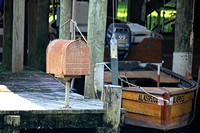 Wooden Boat and Mailbox